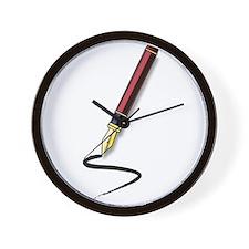 Fountain Pen Writing Wall Clock