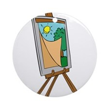 Art Easel with Painting Ornament (Round)