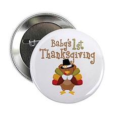 """Babys 1st Thanksgiving Turkey 2.25"""" Button (10 pac"""