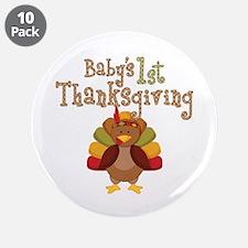 """Babys 1st Thanksgiving Turkey 3.5"""" Button (10 pack"""