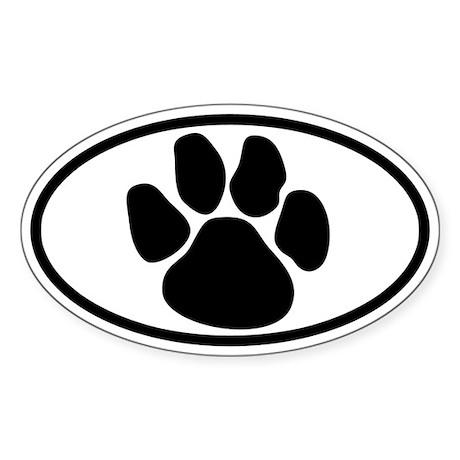 Dog Paw Oval Sticker