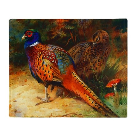 Pheasant Pair Throw Blanket