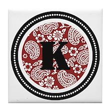 Red Paisley Monogram-K Tile Coaster