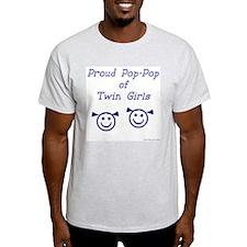 Proud Pop-Pop of Twin Girls Ash Grey T-Shirt