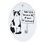 Hungry Feline Oval Ornament