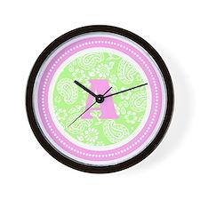 Lime Paisley Monogram-A Wall Clock