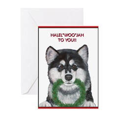 Malamute and sled team Greeting Cards (Package of