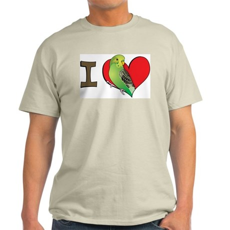 I heart parakeets (Green) Ash Grey T-Shirt