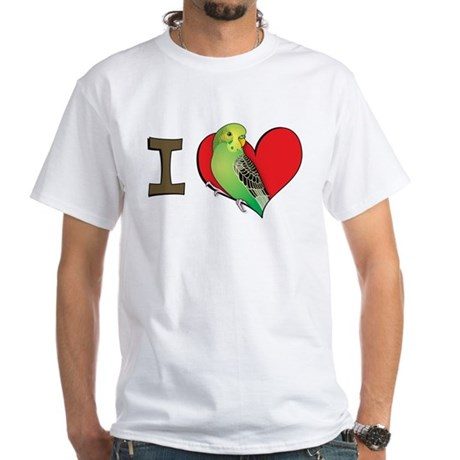 I heart parakeets (Green) White T-Shirt