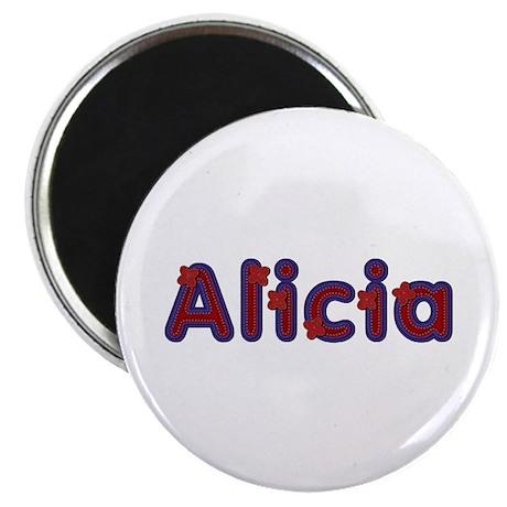 Alicia Red Caps Round Magnet