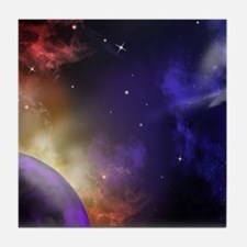 Universe with Planet and Stars Tile Coaster