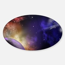 Universe with Planet and Stars Sticker (Oval)