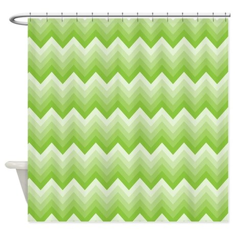Chevron Green Striped Zigzag Shower Curtain By MainstreetHomewares