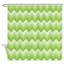Chevron Green Striped Zigzag Shower Curtain