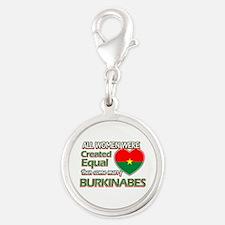 Burkinabes Husband designs Silver Round Charm