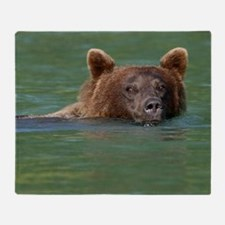 Grizzly Bear Swimming Throw Blanket