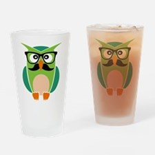 Hipster Owl Drinking Glass