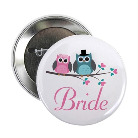 "Bride Wedding Owls 2.25"" Button"