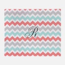 Coral Aqua Grey Chevron Monogram Throw Blanket