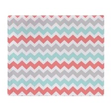 Aqua Coral Grey Chevron Throw Blanket
