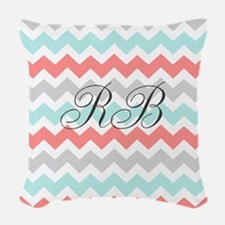 Aqua Grey Coral Chevron Woven Throw Pillow
