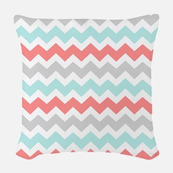 Aqua Coral Grey Chevron Woven Throw Pillow