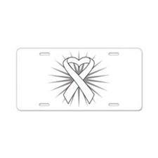 Lung Cancer Heart Ribbon Aluminum License Plate