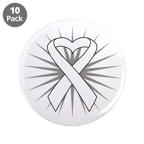"Lung Cancer Heart Ribbon 3.5"" Button (10 pack)"