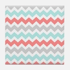 Aqua Coral Grey Chevron Tile Coaster