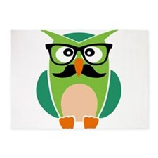 Hipster Owl 5'x7'Area Rug