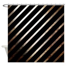 Vintage Rustic Style Stripes Shower Curtain