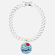 Scuba Diving Charm Bracelet, One Charm