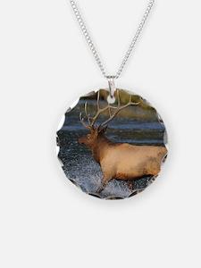 elk splashing in the water Necklace