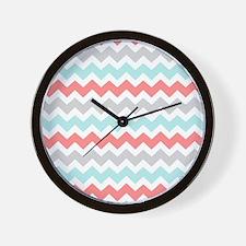 Coral Aqua Grey Chevron Wall Clock