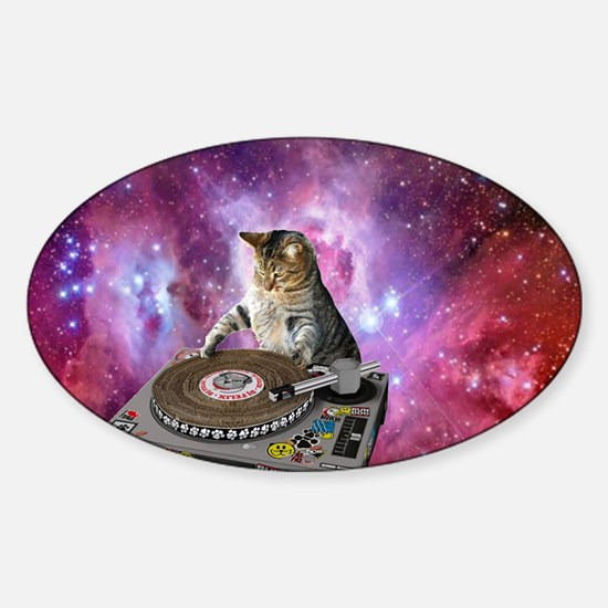 DJ Space Cat Sticker (Oval)