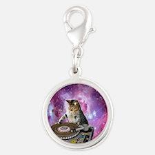 DJ Space Cat Silver Round Charm