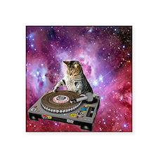 "DJ Space Cat Square Sticker 3"" x 3"""