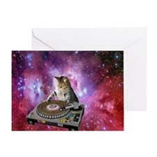 DJ Space Cat Greeting Card