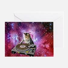 DJ Space Cat Greeting Card
