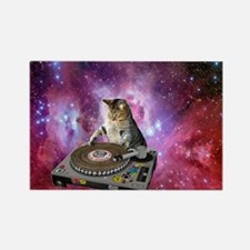 DJ Space Cat Rectangle Magnet
