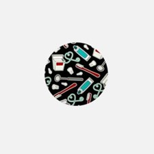 Dental Print Black with Red and Blue Mini Button