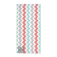 Grey Coral Aqua Monogram Chevron Beach Towel