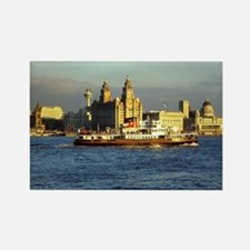Mersey Ferry and Liverpool Waterf Rectangle Magnet
