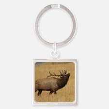 Bull Elk with Head Back Square Keychain