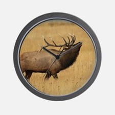 Bull Elk with Head Back Wall Clock