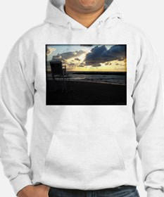 Lifeguard Chair against Lake Erie Sunset Hoodie