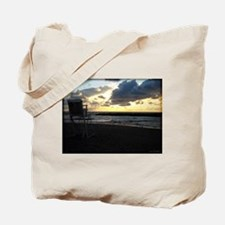Lifeguard Chair against Lake Erie Sunset Tote Bag