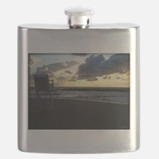 Lifeguard Chair against Lake Erie Sunset Flask