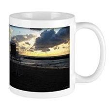 Lifeguard Chair against Lake Erie Sunset Mugs