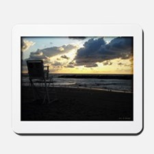 Lifeguard Chair against Lake Erie Sunset Mousepad